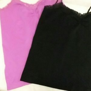 Lace edged,ruched neck,pk 2,pink/black camis